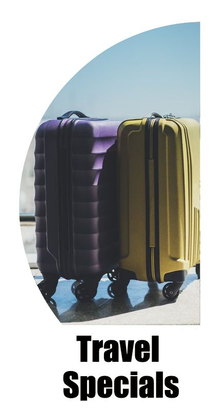 Purple and yellow suitcase in airport